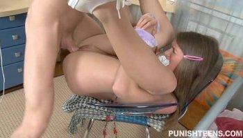 Russian schoolgirl Katya gets anal stuffing